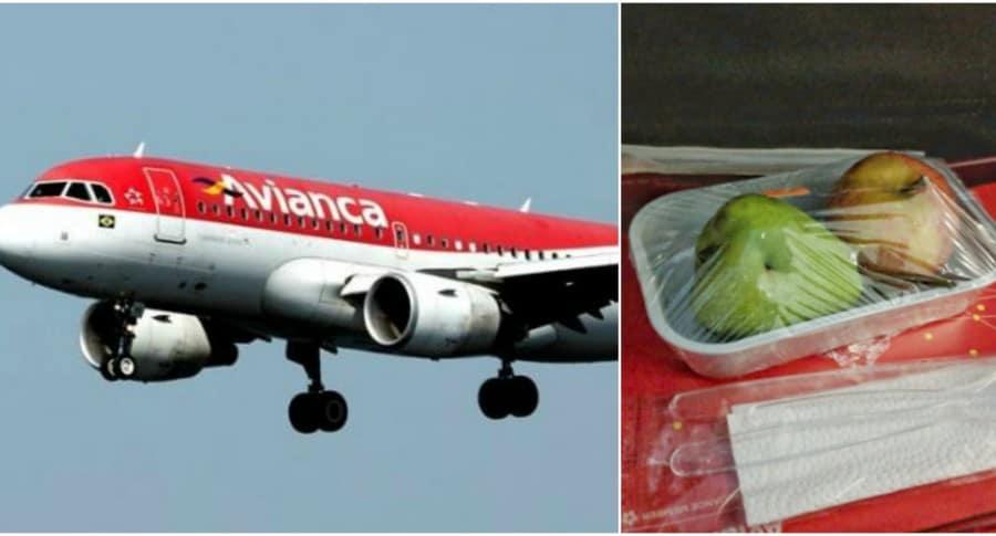 Avión de avianca y plato de frutas. Pulzo.
