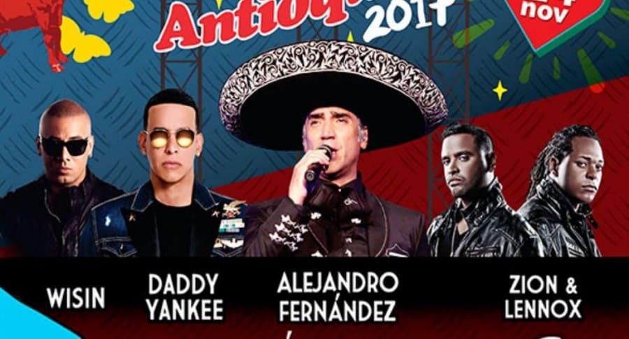 Afiche del Festival Antioqueño con Wisin, Daddy Yankee, Alejandro Fernández, y Zion y Lennox, cantantes.