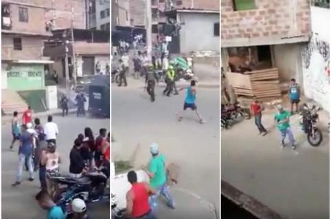 Comunidad enfrenta a Policía en Medellín.
