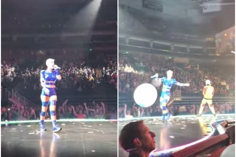 Katy Perry golpea con pelota a fan. Pulzo.