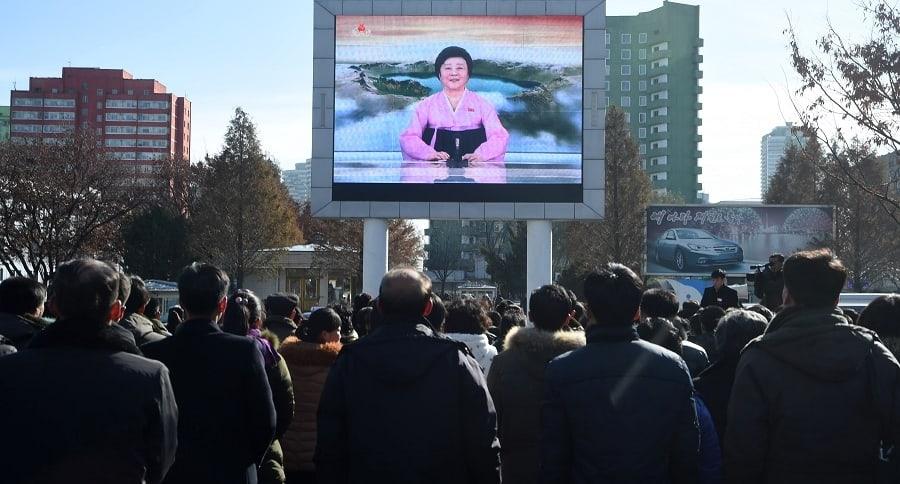 Pantalla gigante en una calle de Pyongyang