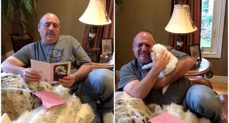 Hombre llora al recibir cachorro de regalo. Pulzo.