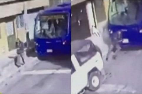 Conductor de SITP trata de parar con su cuerpo bus que se rodó