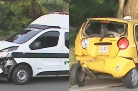 Accidente patrulla de policia chocó taxi en Norte de Santander