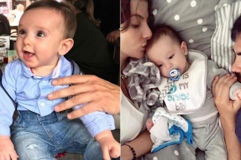La presentadora Carolina Cruz con su pareja, el actor Lincoln Palomeque, y su hijo Matías.