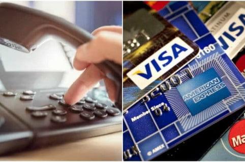 Teléfono y tarjetas de crédito.