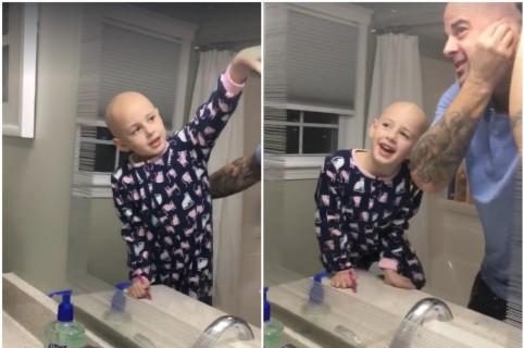 Padre se rapa por su hija, que sufre de alopecia. Pulzo.