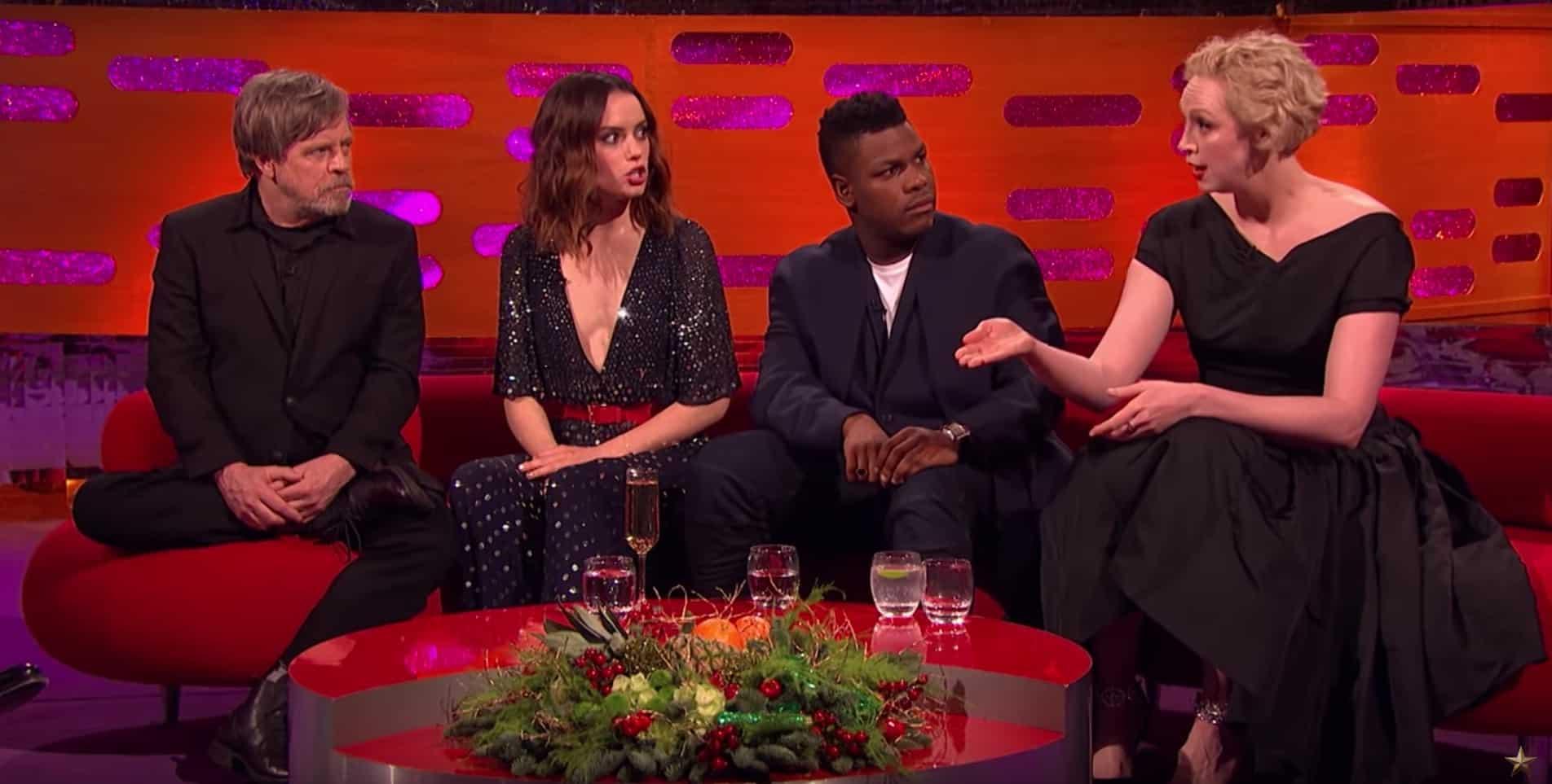 Mark Hamill, Daisy Ridley, John Boyega y Gwendoline Christie. Pulzo.