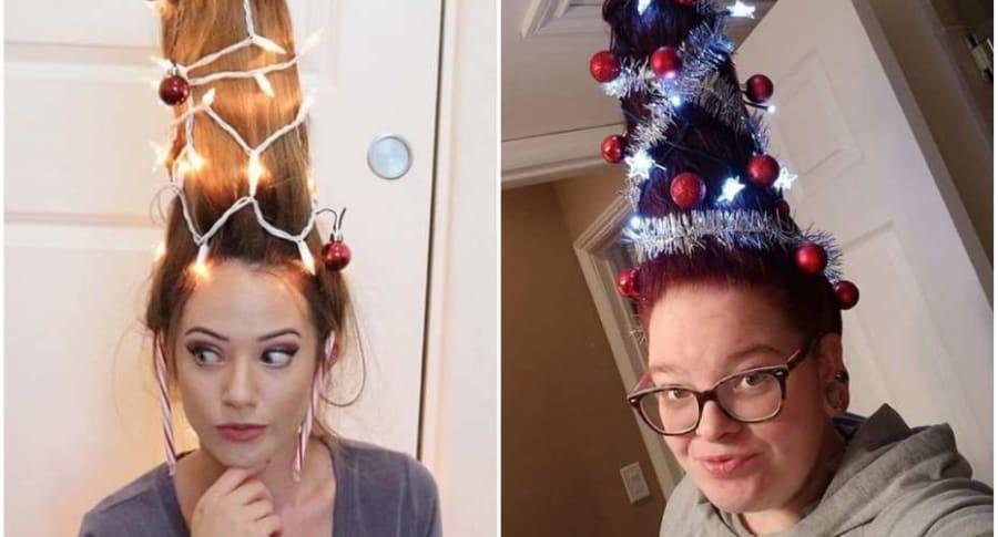 Pelo decorado como árbol de Navidad.
