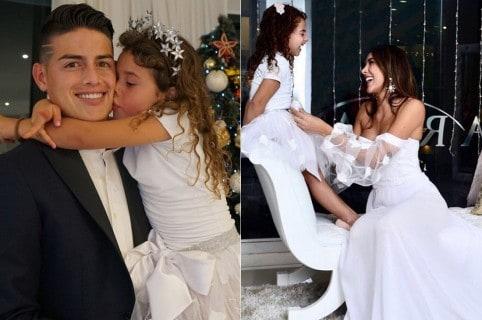 James Rodríguez, futbolista, y Daniela Ospina, modelo, con su hija Salomé.