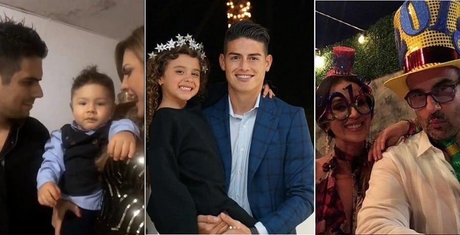 El actor Alejandro Aguilar con su hijo Dante y su pareja, la presentadora Ana Karina Soto; el futbolista James Rodríguez junto a su hija Salomé; y la pareja de actores Miguel Varoni y Catherine Siachoque.