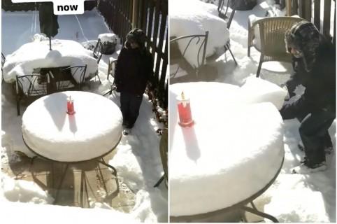 Nieve con forma de torta. Pulzo.
