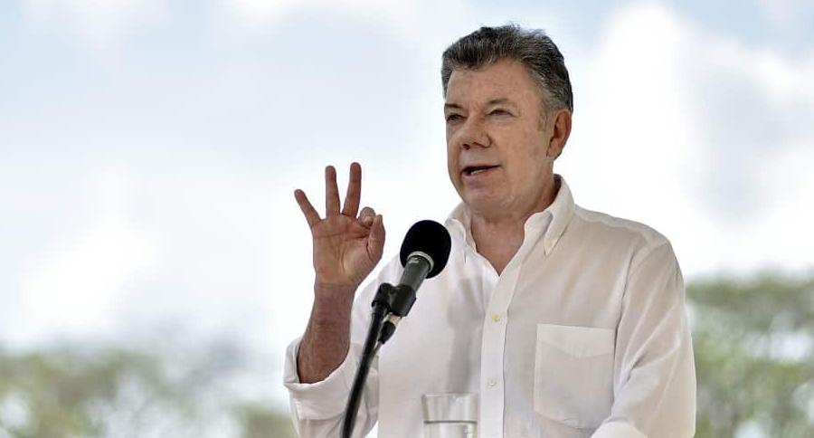 Presidente Juan Manuel Santos después de reunión con Farc