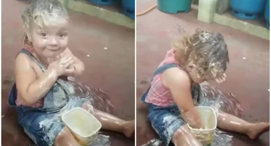 Bebe se unta margarina. Pulzo.