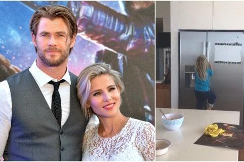 Chris Hemsworth, Elsa Pataky y uno de sus mellizos. Pulzo.