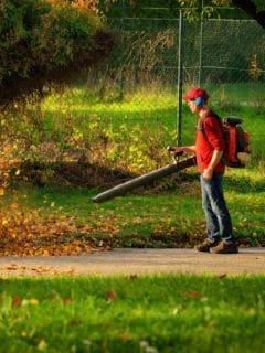 Hombre sopla montaña de hojas. Pulzo.