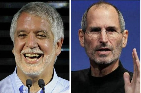 Enrique Peñalosa, alcalde de Bogotá, y Steve Jobs, empresario del sector informático