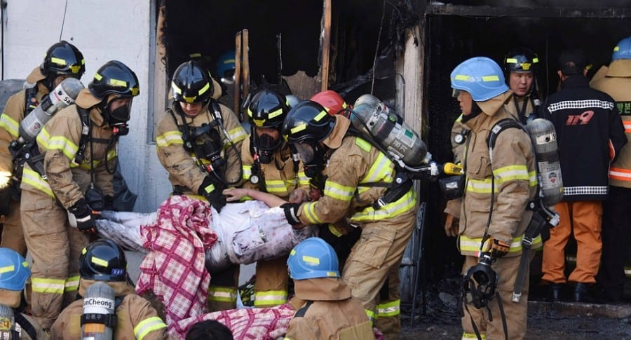 Incendio en un hospital en Miryang
