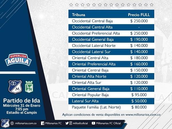 Precios boletas Millonarios para la Superliga