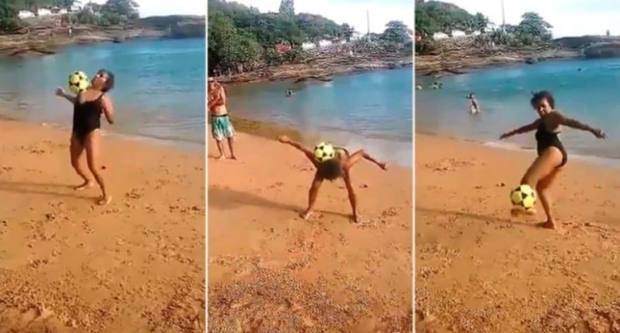 Señora domina el balón en una playa de Brasil. Pulzo.