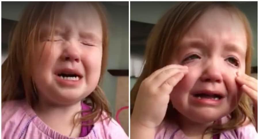 Niña llora porque no puede comer más 'waffles'. Pulzo.