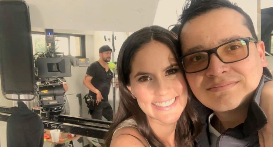 Linda Palma, presentadora, con su novio Diego Pulecio, cantante.