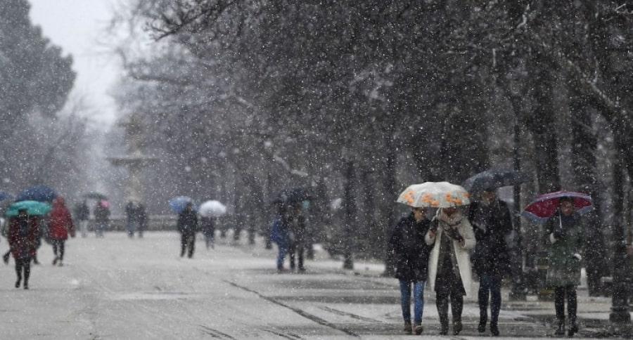 Parque El Retiro, en Madrid, durante la nevada