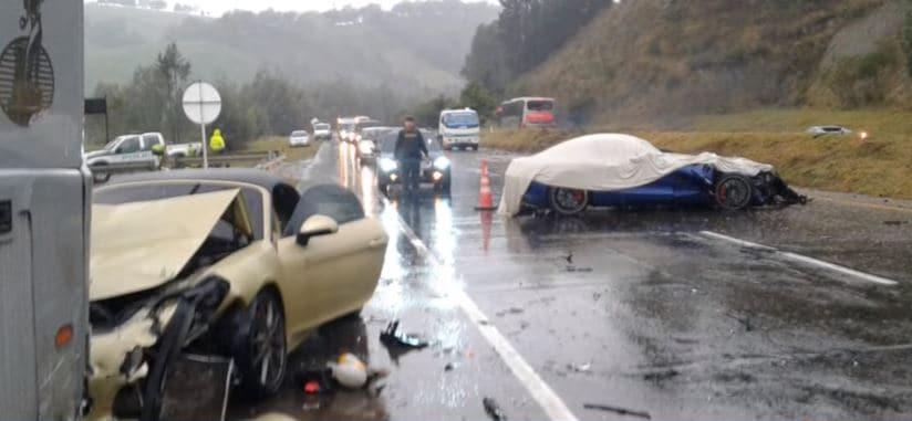 Accidente de carros de lujo en Cundinamarca