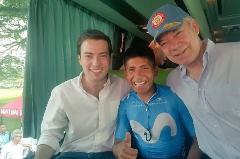 Nairo Quintana y Juan Manuel Santos