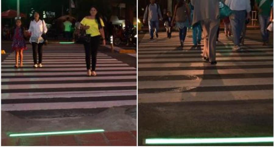 Semáforo peatonal de piso.