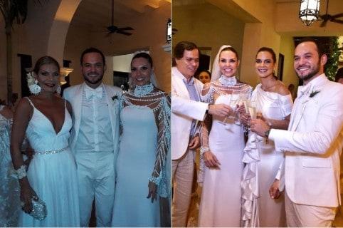 Paula Andrea Betancur, exreina, con su esposo Luis Miguel Zabaleta, dermatólogo, y sus amigas exreinas María Mónica Urbina y María Teresae Egurrola.