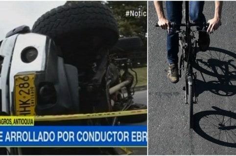 Camioneta volcada y un ciclista. Pulzo.