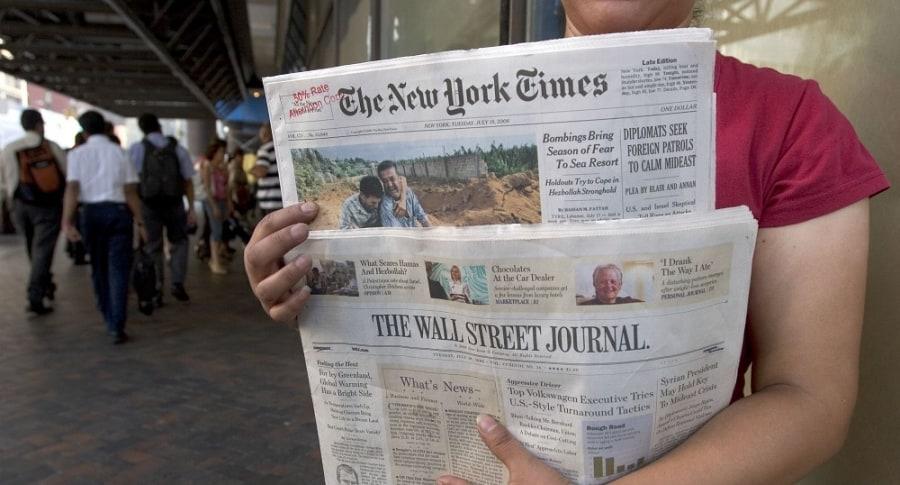 Ediciones impresas de The New York Times y The Wall Street Journal