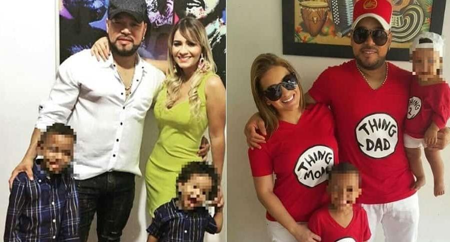 Yader Romero, vocalista de Kvrass, su esposa Anny Sarmiento, y sus dos hijos.