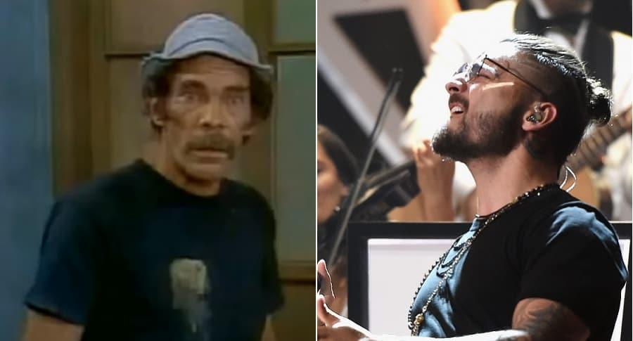 Don Ramón, de 'El Chavo del 8', y Maluma, cantante.