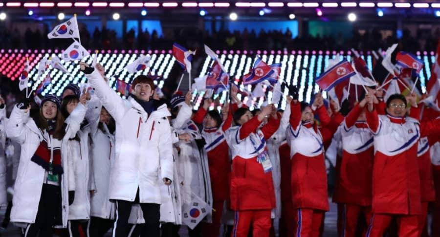 Delegaciones de Corea del Norte y Corea del Sur