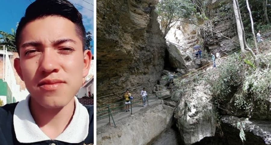 Jhonatan Andrés Beltrán cayó desde un peñón del Puente Natural de Pandi (Der.)