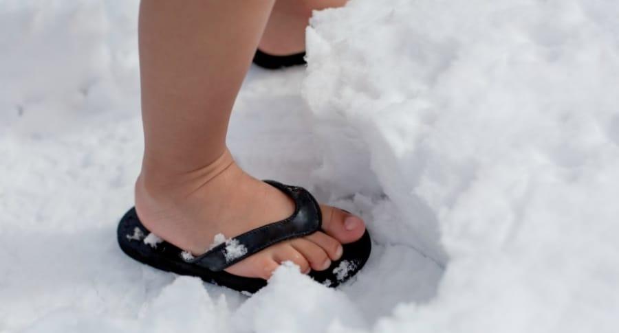 Niño en la nieve.
