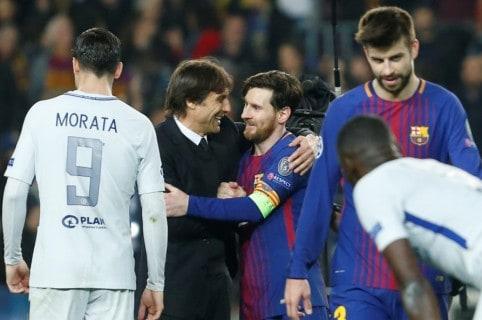 Antonio Conte y Lionel Messi