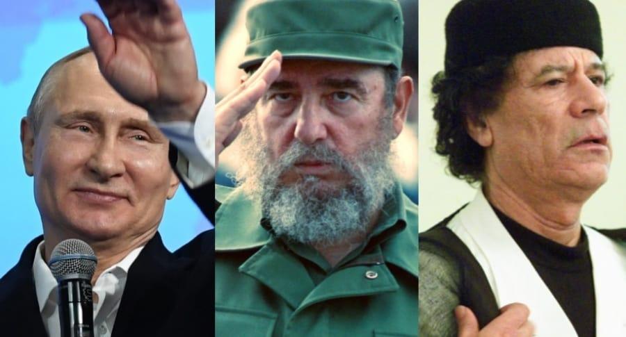 Vladimir Putin / Fidel Castro / Muamar Gadafi AFP
