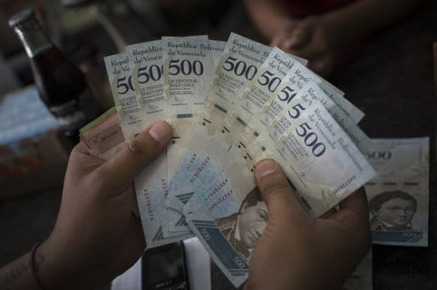 Billetes de 500 bolívares, en Venezuela