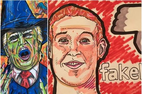 Dibujos Jim Carrey de Trump y Zuckerberg