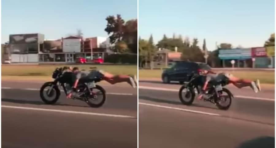 Motociclista maneja a lo 'Superman'.