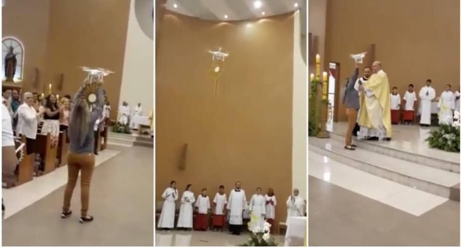 Iglesia usa dron para transportar hostia.