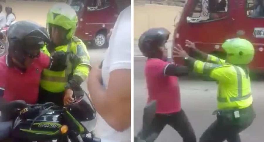Motociclista que agrede a policía