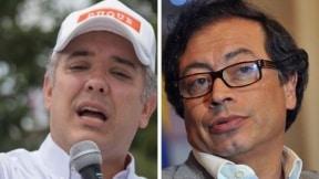 Iván Duque y Gustavo Petro, candidatos a la presidencia de Colombia
