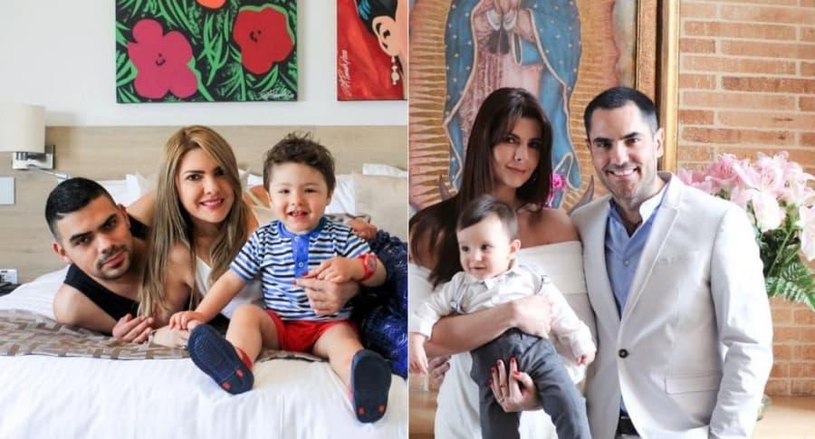 Alejandro Aguilar, actor, con su novia Ana Karina Soto, presentadora. Carolina Cruz, presentadora, con su pareja Linconl Palomeque, actor, y su primogénito Matías.