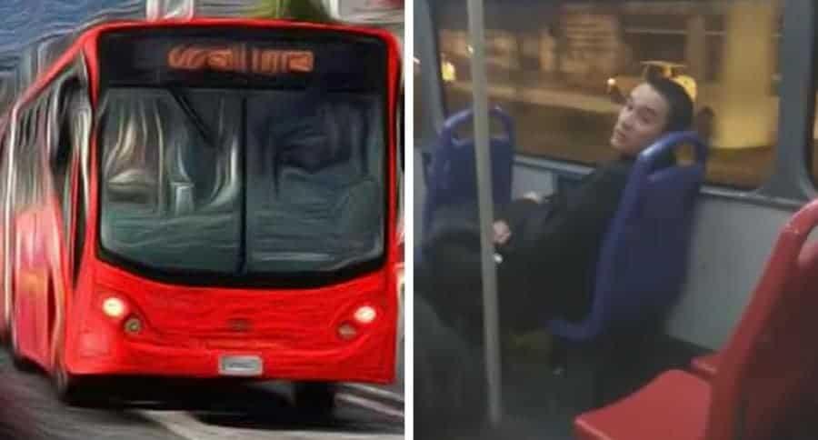Hombre maleducado en bus de Transmilenio