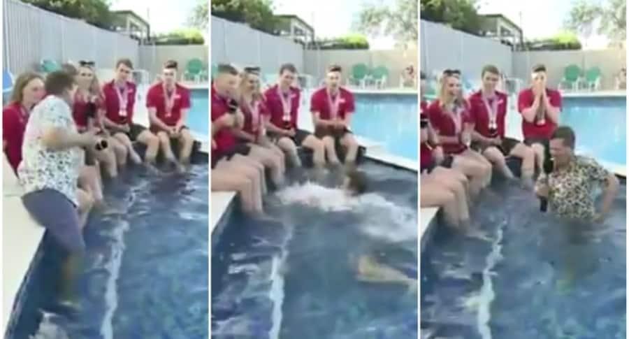 Presentador de BBC se cae una piscina.