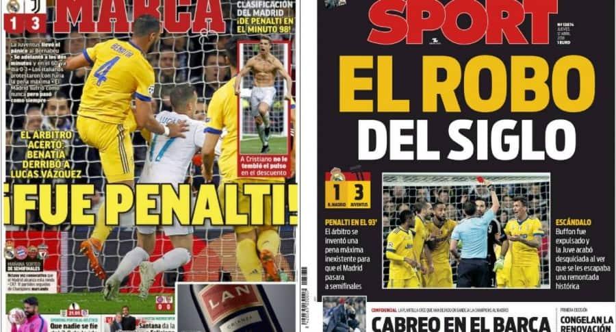 Portadas de Marca y Sport